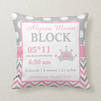 Gray Pink Princess Baby Announcement Pillow