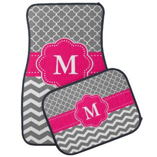 Gray Pink Quatrefoil Chevron Monogram Car Floor Carpet