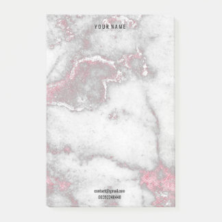 Gray Pink Rose White Marble Stone Lux Name Adress Post-it Notes