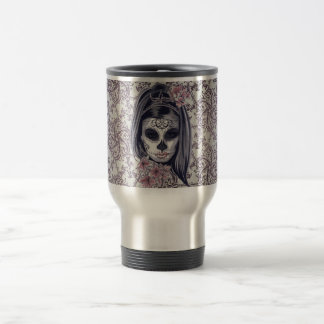 Gray/Pink Sugar Skull/Day of the Dead Girl Mug