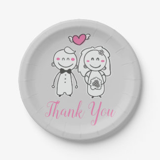Gray & Pink Thank You Wedding Bride & Groom Paper Plate