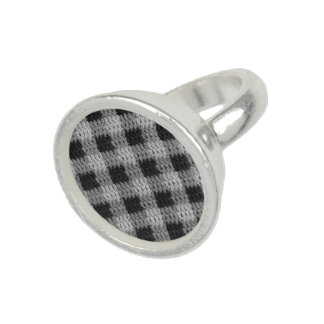 Gray Plaid Crochet Print Sterling Silver Plated Photo Ring