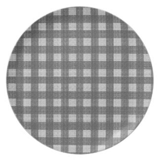 Gray plaid pattern party plate