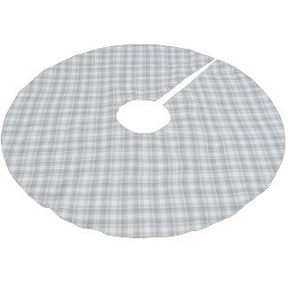 Gray plaid pattern tree skirt