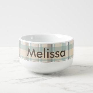 Gray Plaid Soup Mug