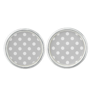 Gray Polka Dot Pattern Cuff Links