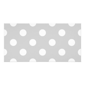 Gray Polka Dot Pattern Picture Card