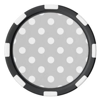 Gray Polka Dot Pattern Poker Chips