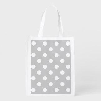 Gray Polka Dot Pattern Reusable Grocery Bag