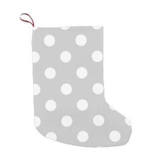 Gray Polka Dot Pattern Small Christmas Stocking