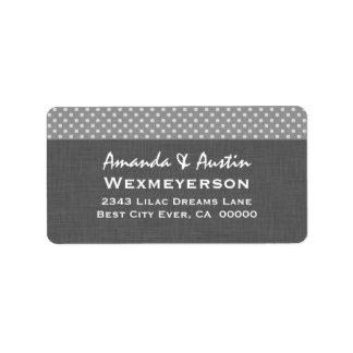 Gray Polka Dot Wedding Collection A2 Label