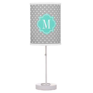 Gray Polka Dot with Turquoise Monogram Table Lamp