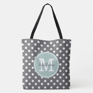 Gray Polka Dots, Mint Monogram & Personalized Name Tote Bag