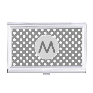 Gray Polka Dots Monogram Business Card Case