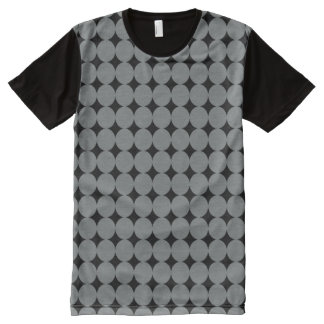Gray Polka Dots On Black Retro Pattern All-Over-Print T-Shirt