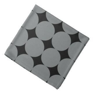 Gray Polka Dots On Black Retro Pattern Bandana