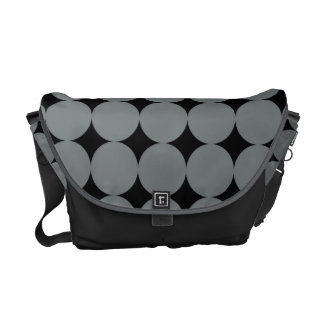 Gray Polka Dots On Black Vintage Pattern Courier Bags