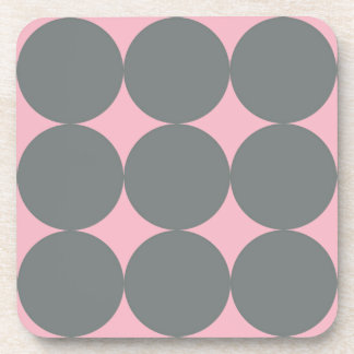 Gray Polka Dots On Pink Retro Pattern Coaster