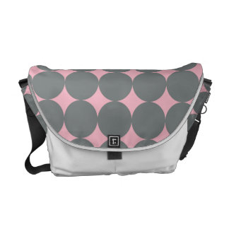 Gray Polka Dots On Pink Vintage Pattern Courier Bag