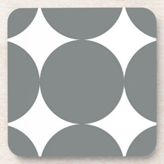 Gray Polka Dots On White Retro Pattern Coaster