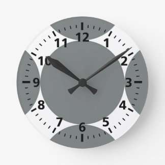 Gray Polka Dots On White Retro Pattern Round Clock