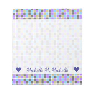 Gray, Purple, Beige, Blue Squares/Tiles Pattern Notepad