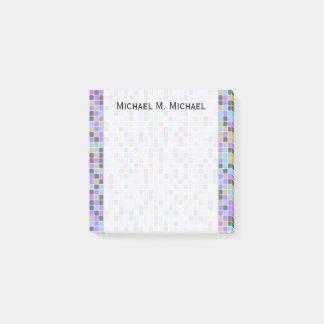 Gray, Purple, Beige, Blue Squares/Tiles Pattern Post-it Notes