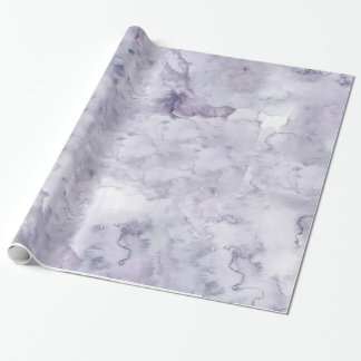 Gray Purple Misty Background Watercolor Wrapping Paper