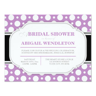 Gray & Purple Polka Dot Bridal Shower Invitations