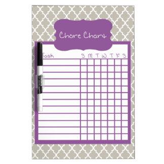 Gray & Purple Quatrefoil Chore Chart Dry-Erase Whiteboards