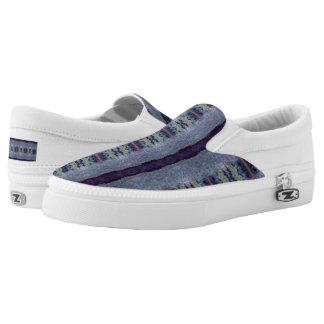 gray purple striped shoes