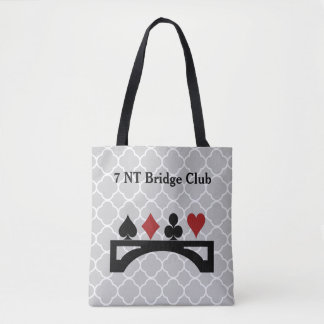 Gray Quatrefoil Bridge Card Game Tote Bag