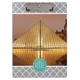 Gray Quatrefoil Mint Monogram Showcase Your Photo Clipboard