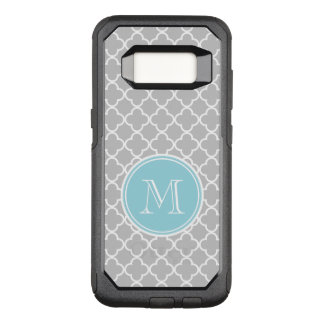 Gray Quatrefoil Pattern, Blue Monogram OtterBox Commuter Samsung Galaxy S8 Case