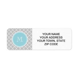 Gray Quatrefoil Pattern, Blue Monogram Return Address Label