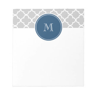 Gray Quatrefoil Pattern, Navy Blue Monogram Notepad