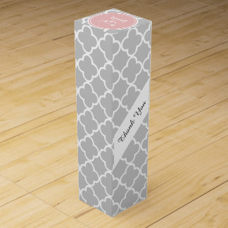 Gray Quatrefoil Pattern, Pink Monogram Wine Gift Box