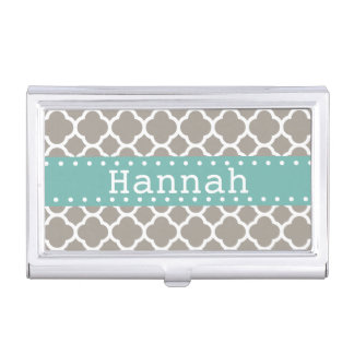 Gray Quatrefoil Pattern Turquoise Ribbon Business Card Holders