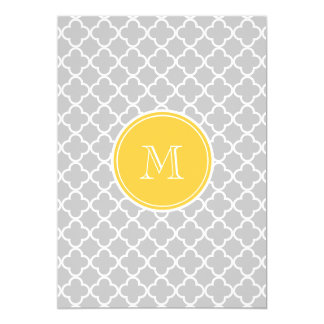 Gray Quatrefoil Pattern, Yellow Monogram Card