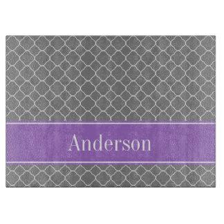 Gray Quatrefoil Purple Personalized Boards