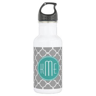 Gray Quatrefoil with Custom Mint Monogram 532 Ml Water Bottle