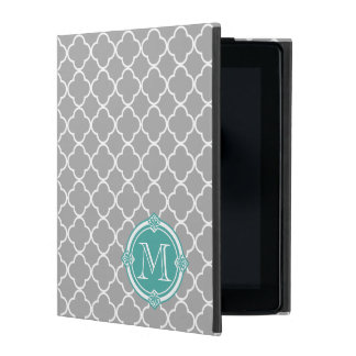 Gray Quatrefoil with Monogram Mint Vintage Frame iPad Cover