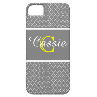Gray Quatrefoil Yellow &White Monogrammed iPhone 5 Cases