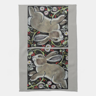 Gray Rabbit Christmas Kitchen Towel Green Red