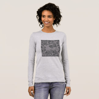 Gray Rabbit & Scrolls Women's Long Sleeve T shirt