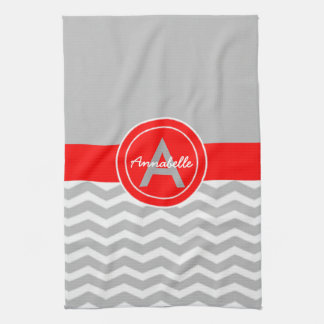 Gray Red Chevron Kitchen Towel