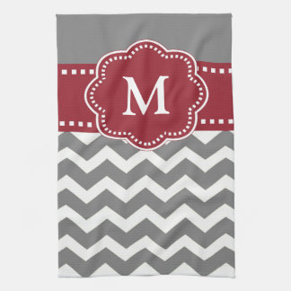 Gray Red Chevron Monogram Towel