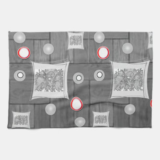 gray red kitchen hand towel