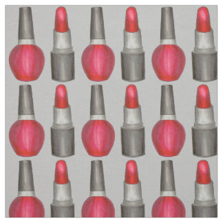 Gray Red Lipstick Nail Polish Makeup Beauty Fabric