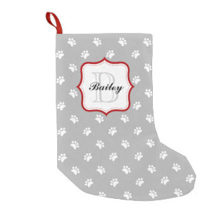 Gray Red Personalized Pet Name Christmas Small Christmas Stocking